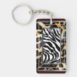 Copie de zèbre de léopard porte-clé rectangulaire en acrylique double face