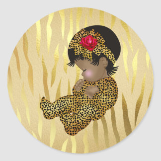 Copie de zèbre d'étincelle d'or avec le bébé de sticker rond