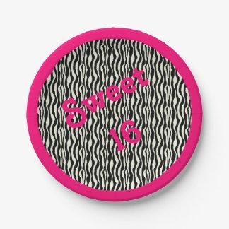 Copie de zèbre du bonbon 16 avec la frontière rose assiettes en papier