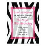 Copie de zèbre et invitation d'anniversaire de carton d'invitation 10,79 cm x 13,97 cm