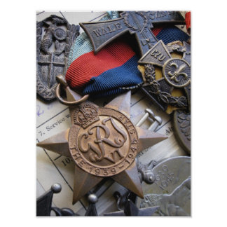 Copie d'étoile de service de guerre de 2ÈME GUERRE Affiche