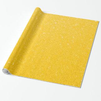 Copie doucement jaune de scintillement papier cadeau noël