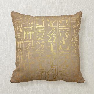 Copie égyptienne de papier de hiéroglyphes d'or coussin
