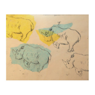 Copie en bois d'art de rhinocéros impression sur bois
