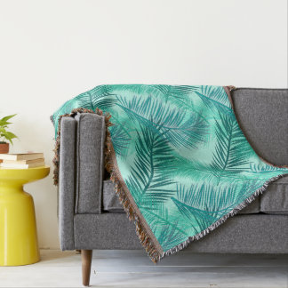 Copie en feuille de palmier, turquoise, Teal et Couvre Pied De Lit