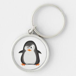 Copie fâchée de photo de scintillement de pingouin porte-clé rond argenté