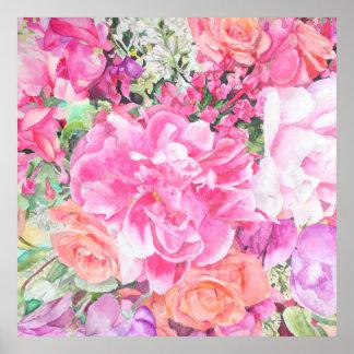 Copie florale d'affiche d'aquarelle poster