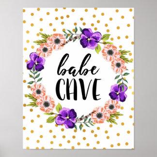 Copie florale de caverne de bébé de guirlande posters
