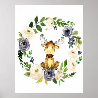 Copie florale de crèche de marine d'orignaux de posters