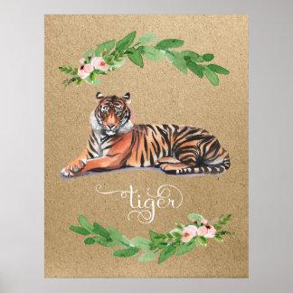 Copie florale de crèche de rose de safari de tigre poster