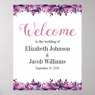 Copie florale de mariage de signe bienvenu pourpre poster