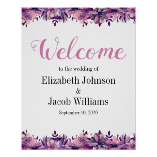 Copie florale de mariage de signe bienvenu pourpre posters