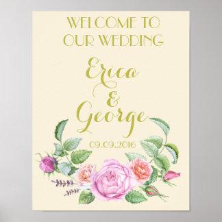 Copie florale de signe de mariage d'accueil de posters
