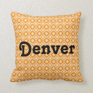Copie géométrique orange décorative des carreaux | oreillers