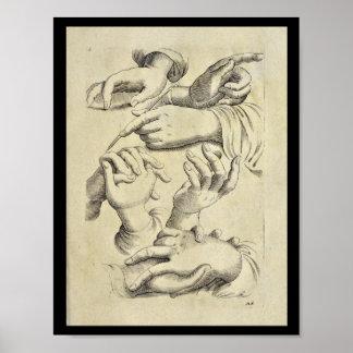 Copie humaine de 1770 d'anatomie artistique doigts poster