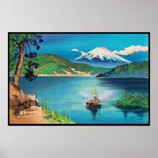Copie japonaise de bois de graveur du mont Fuji Posters