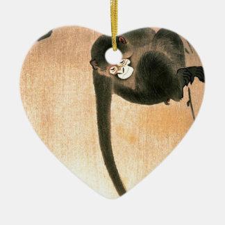 Copie japonaise vintage de singe ornement cœur en céramique