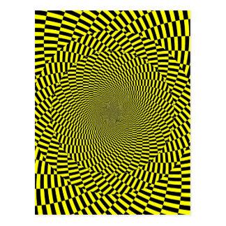 Copie jaune noire de spirale de motif d'illusion carte postale
