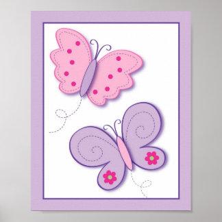 Copie lilas d'art de mur de crèche de fleur de pap posters
