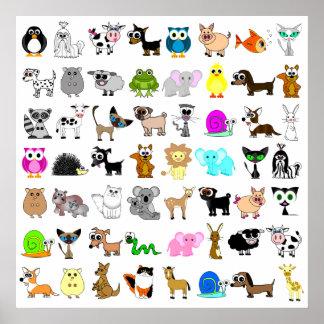 Copie mignonne d'amoureux des animaux posters