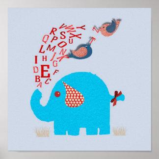 Copie mignonne de crèche de bébé d éléphant d alph posters