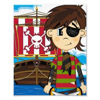 Copie mignonne de photo de pirate et de bateau
