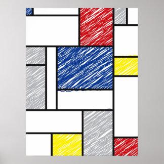 Copie minimaliste d affiche d art de mur de Mondri
