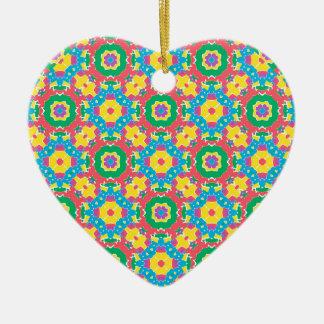 Copie multicolore géométrique ornement cœur en céramique