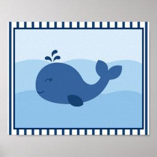 Copie nautique de mur de crèche de baleine posters