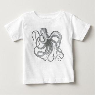 Copie nautique vintage de poulpe de steampunk t-shirt pour bébé