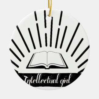 Copie nerd drôle de slogan de fille intellectuelle ornement rond en céramique