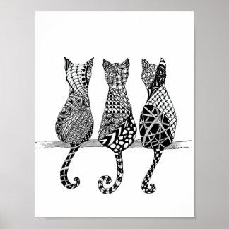 Copie noire et blanche de trois chats posters