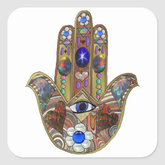 Copie opale d'art de fleurs de coeurs de Judaica Sticker Carré