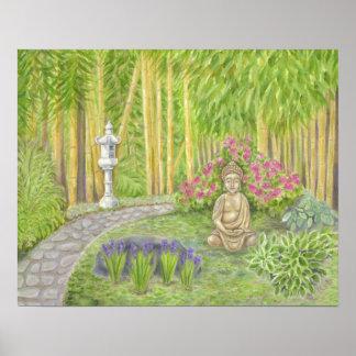 Copie paisible d'art de jardin de Bouddha Poster