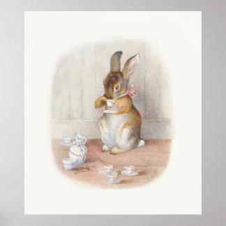 Copie potable d affiche de thé de lapin de Beatrix