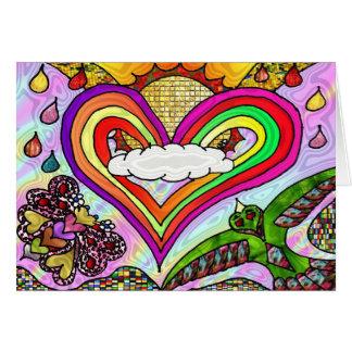 Copie psychédélique d'art de coeur d'arc-en-ciel carte de vœux