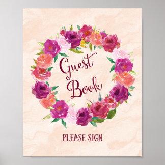 Copie rose d'affiche de mariage de livre d'invité posters