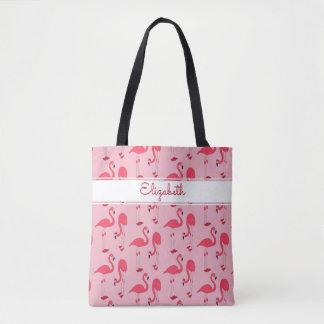 Copie rose de flamant partout avec le nom sac