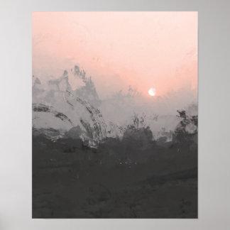 Copie rose de photographie du coucher du soleil | poster