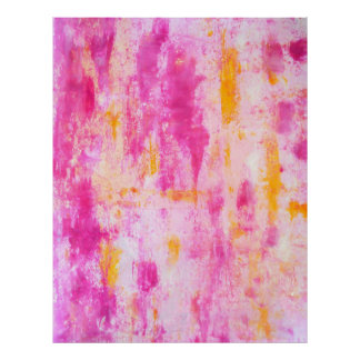 """Copie rose et orange de """"fantaisie"""" d'art abstrait poster"""