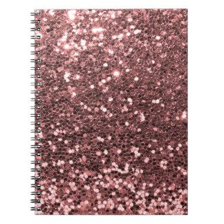 Copie rose moderne de scintillement de Faux d'or Carnet