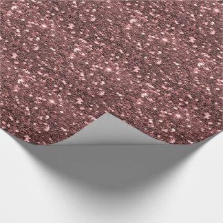 Copie rose moderne de scintillement de Faux d'or Papier Cadeau