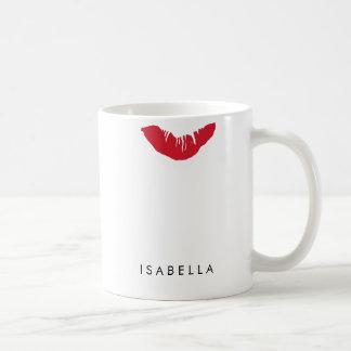 Copie rouge de lèvre personnalisée mug blanc
