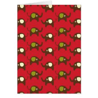 Copie rouge de motif d'éléphants de bonne chance carte de vœux