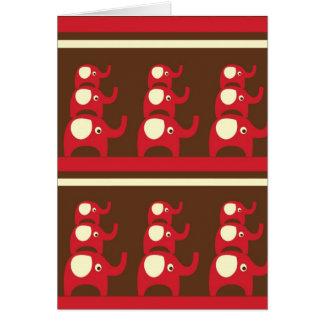 Copie rouge de motif d'éléphants de bonne chance cartes