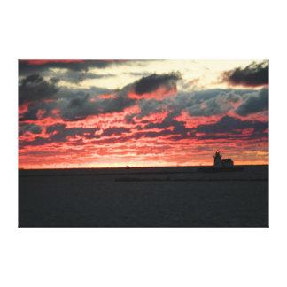 Copie rouge de toile de coucher du soleil