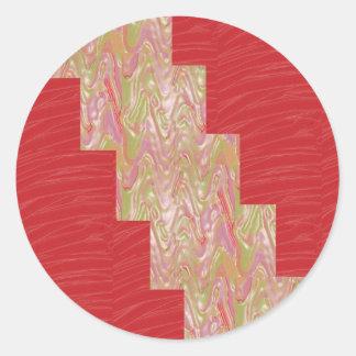 Copie rouge élégante SOYEUSE de tissu des vagues n Sticker Rond