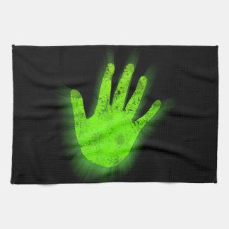 Copie rougeoyante de main serviettes éponge