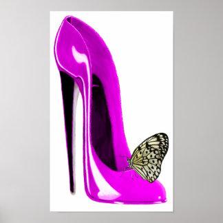 Copie stylet rose d'art de chaussure et de papillo posters