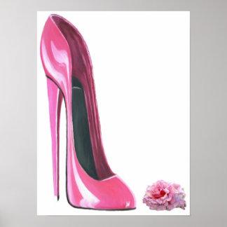 Copie stylet rose de chaussure et de rose poster